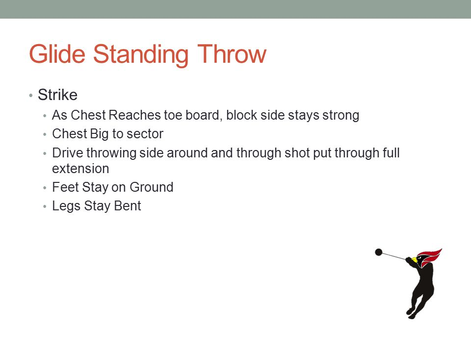 Glide Standing Throw Strike As Chest Reaches toe board, block side stays strong Chest Big to sector Drive throwing side around and through shot put through full extension Feet Stay on Ground Legs Stay Bent