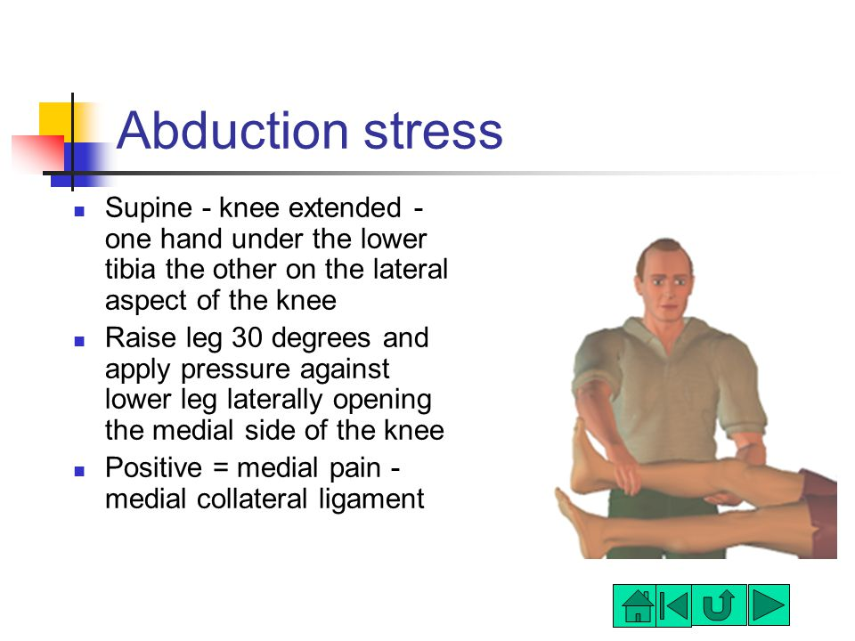 Abduction stress Supine - knee extended - one hand under the lower tibia the other on the lateral aspect of the knee Raise leg 30 degrees and apply pressure against lower leg laterally opening the medial side of the knee Positive = medial pain - medial collateral ligament