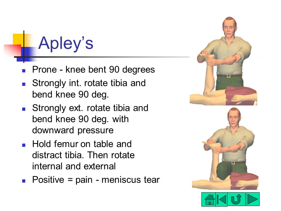 Apley's Prone - knee bent 90 degrees Strongly int.