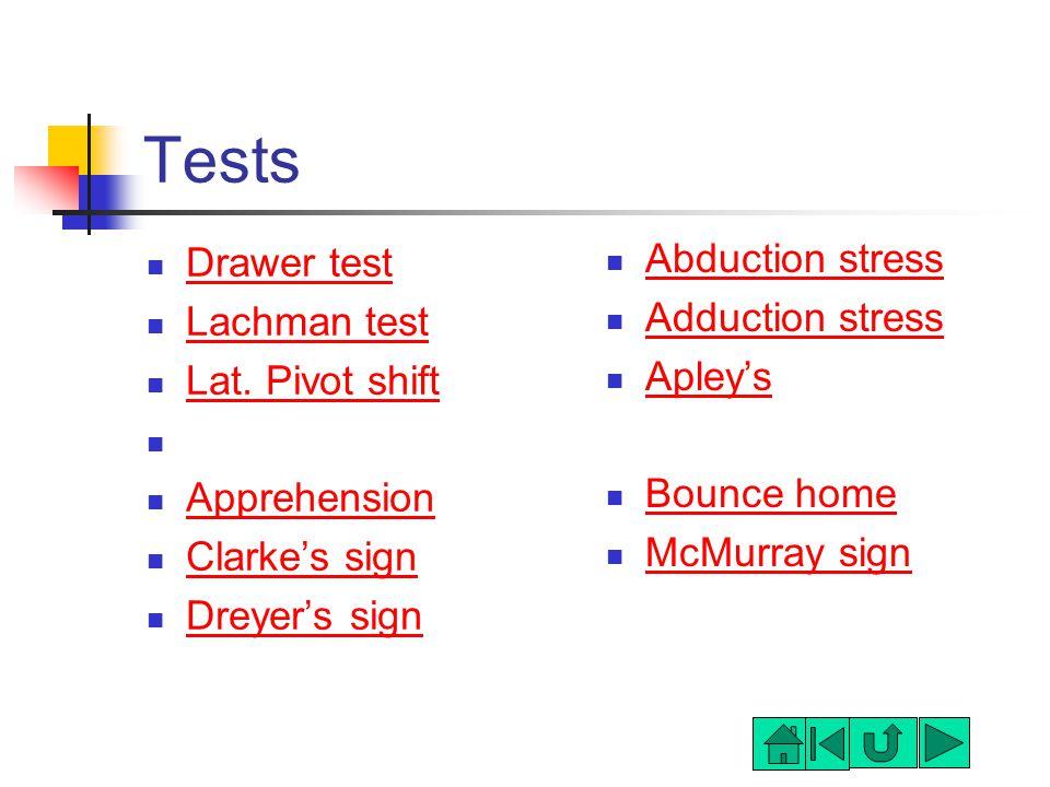 Tests Drawer test Lachman test Lat.