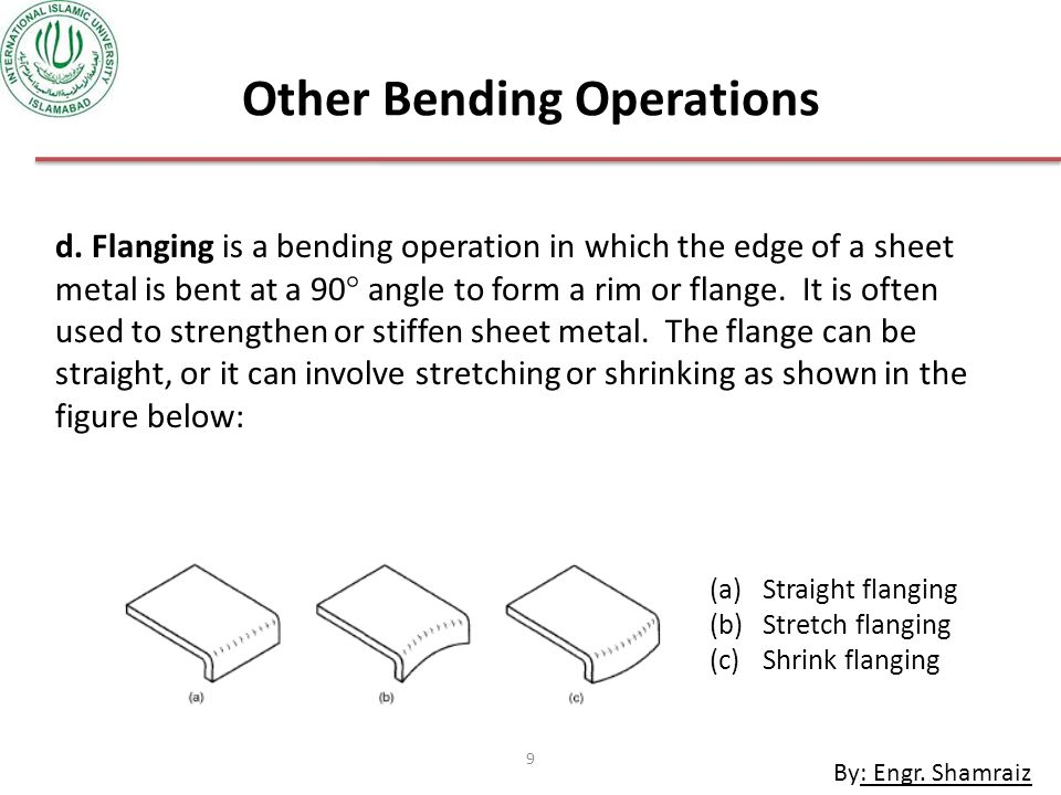 By: Engr.Shamraiz 9 Other Bending Operations d.