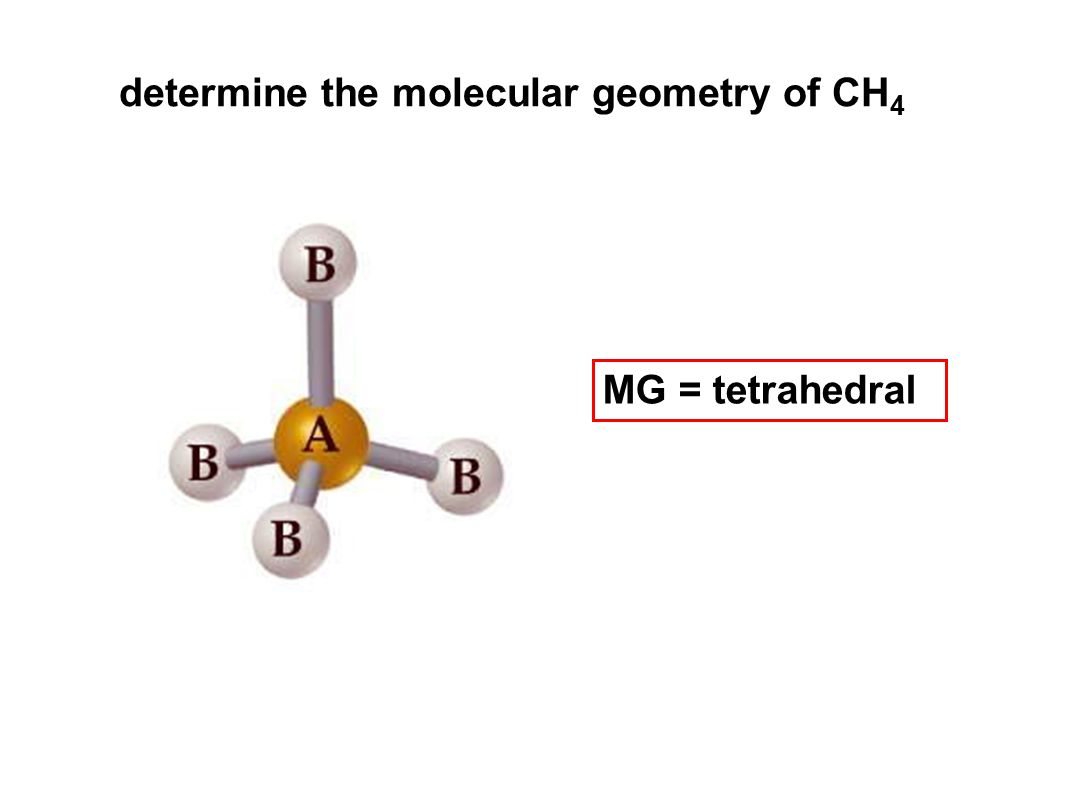 determine the molecular geometry of CH 4 MG = tetrahedral