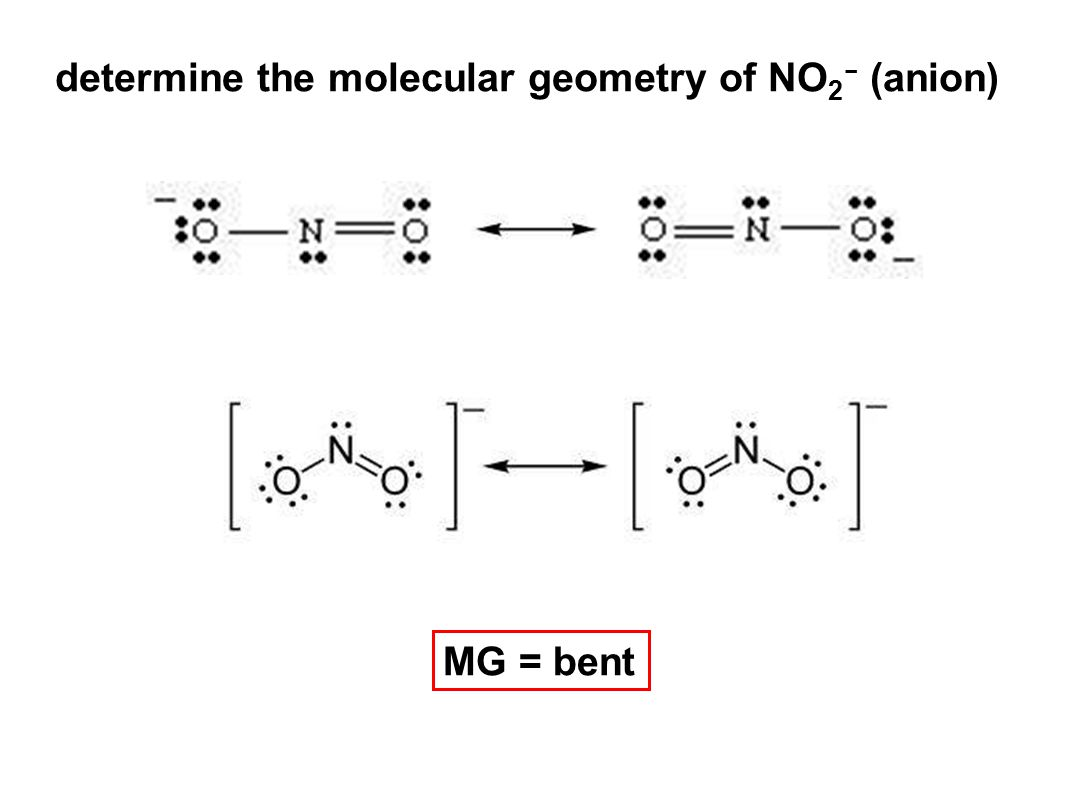 determine the molecular geometry of NO 2 - (anion) MG = bent