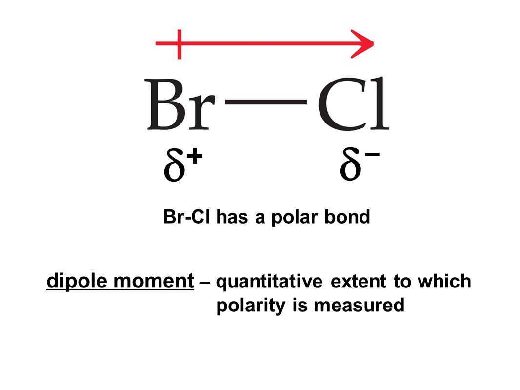 ++ -- dipole moment – quantitative extent to which polarity is measured Br-Cl has a polar bond