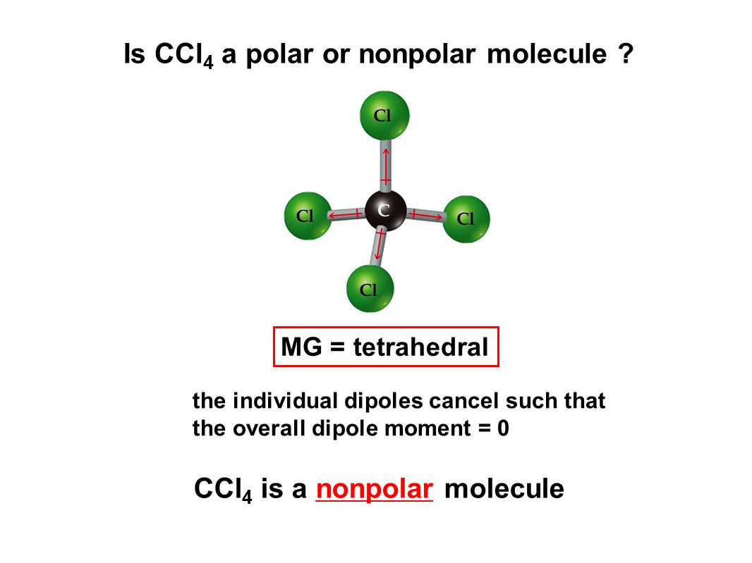 Is CCl 4 a polar or nonpolar molecule ? the individual dipoles cancel such that the overall dipole moment = 0 CCl 4 is a nonpolar molecule MG = tetrah
