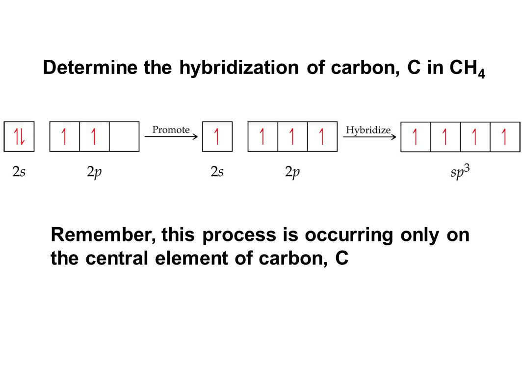 Remember, this process is occurring only on the central element of carbon, C Determine the hybridization of carbon, C in CH 4