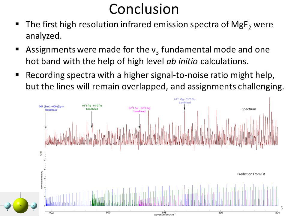 Conclusion  The first high resolution infrared emission spectra of MgF 2 were analyzed.