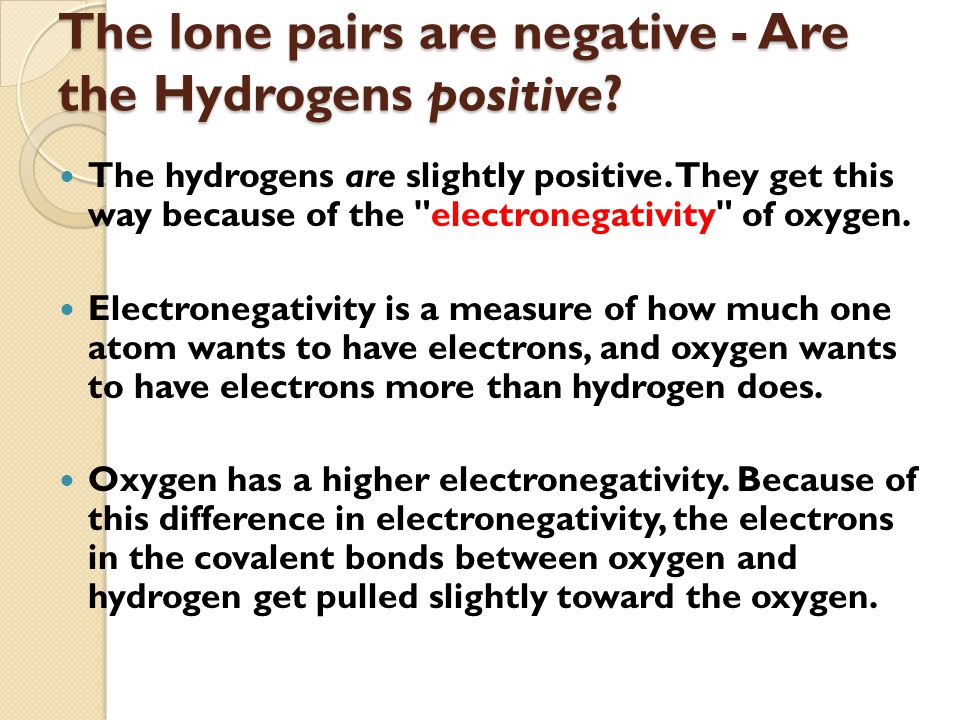 The lone pairs are negative - Are the Hydrogens positive.