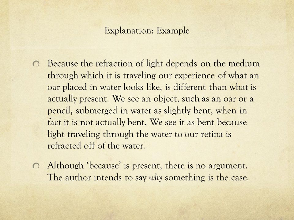 Explanation: Example Because the refraction of light depends on the medium through which it is traveling our experience of what an oar placed in water looks like, is different than what is actually present.