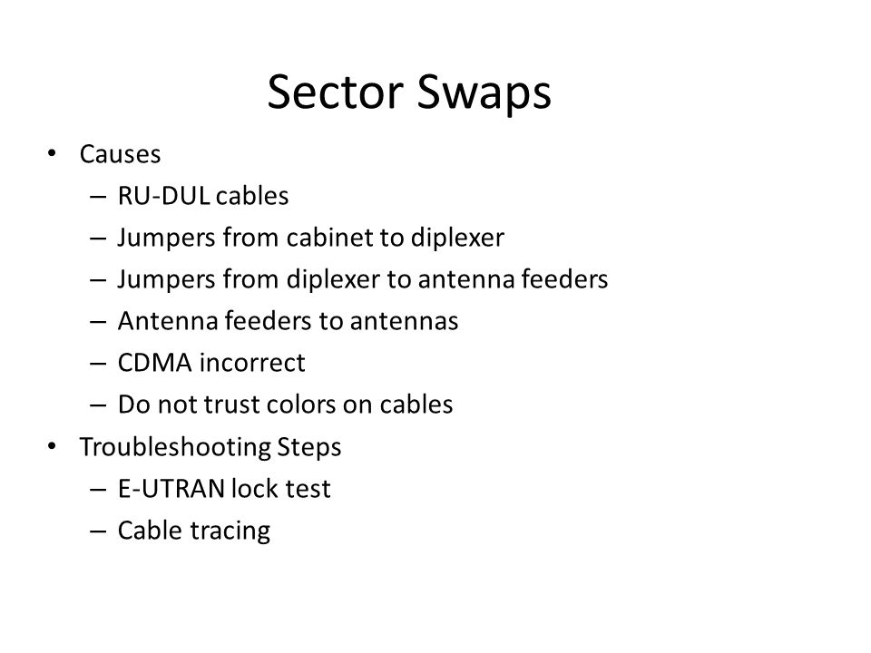Sector Swaps Causes – RU-DUL cables – Jumpers from cabinet to diplexer – Jumpers from diplexer to antenna feeders – Antenna feeders to antennas – CDMA