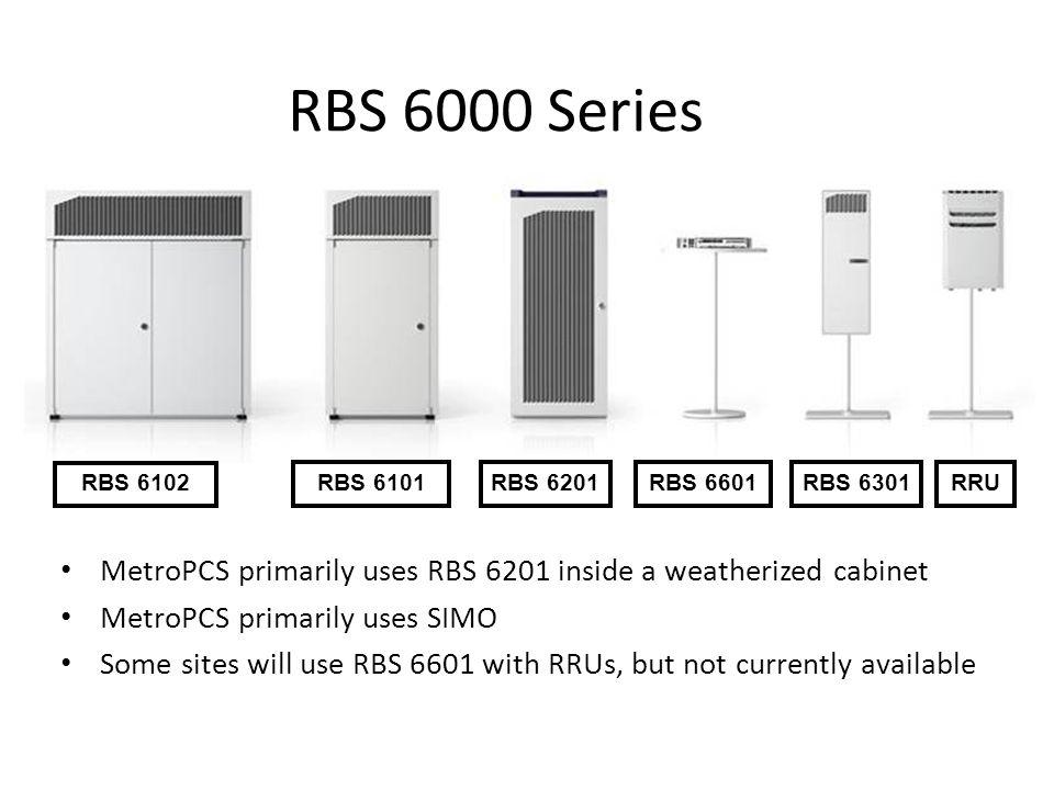 RBS 6000 Series RBS 6102 RBS 6101RBS 6201RBS 6601RBS 6301RRU MetroPCS primarily uses RBS 6201 inside a weatherized cabinet MetroPCS primarily uses SIM