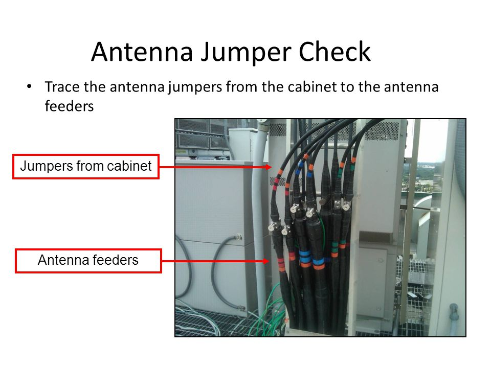 Antenna Jumper Check Jumpers from cabinet Antenna feeders Trace the antenna jumpers from the cabinet to the antenna feeders