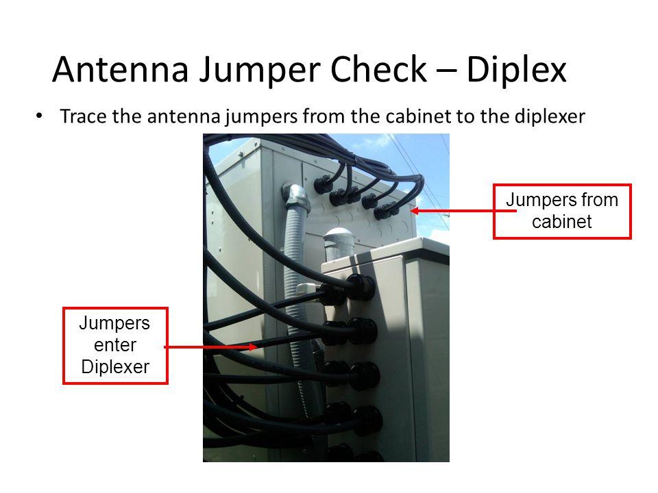 Antenna Jumper Check – Diplex Trace the antenna jumpers from the cabinet to the diplexer Jumpers enter Diplexer Jumpers from cabinet