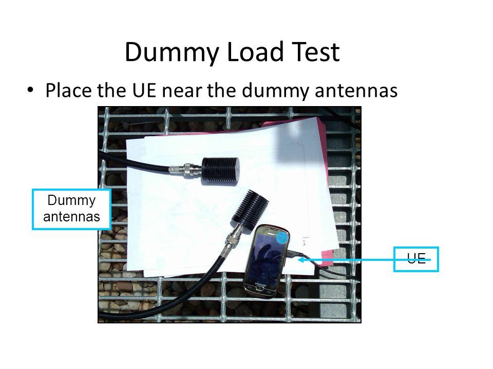 Dummy Load Test Dummy antennas Place the UE near the dummy antennas UE