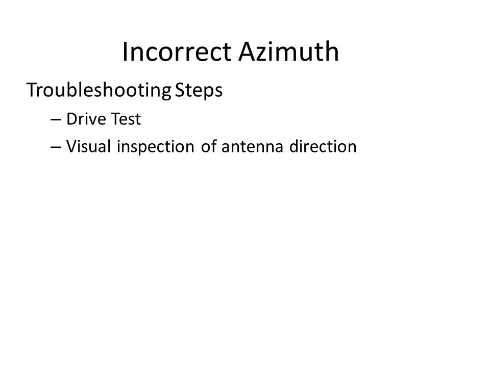 Incorrect Azimuth Troubleshooting Steps – Drive Test – Visual inspection of antenna direction