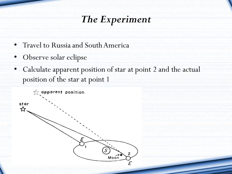 The Experiment Travel to Russia and South America Observe solar eclipse Calculate apparent position of star at point 2 and the actual position of the