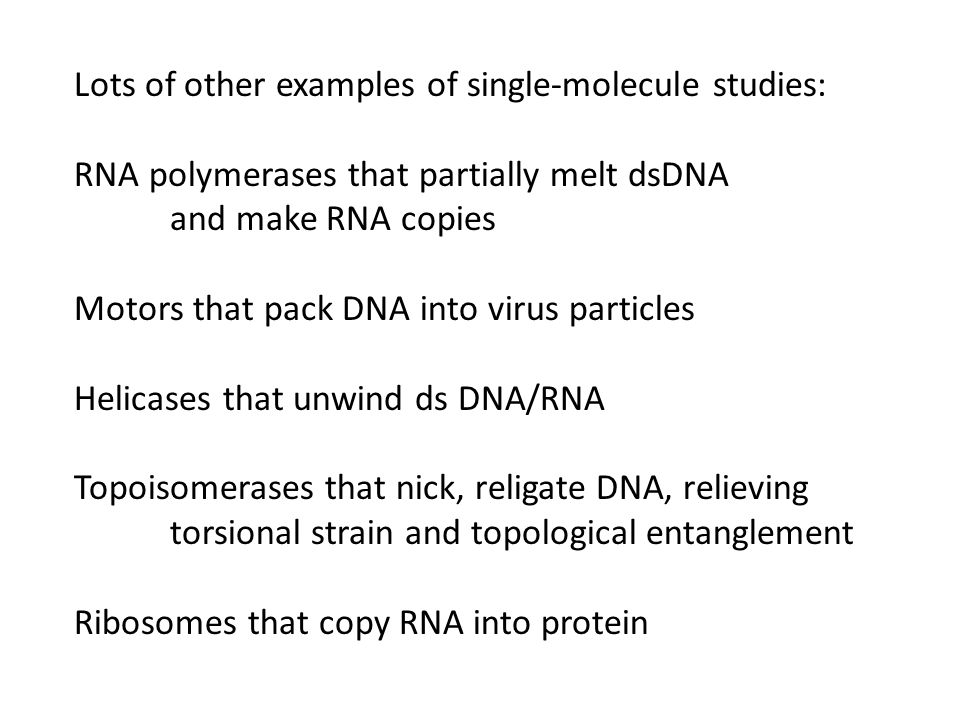 Lots of other examples of single-molecule studies: RNA polymerases that partially melt dsDNA and make RNA copies Motors that pack DNA into virus particles Helicases that unwind ds DNA/RNA Topoisomerases that nick, religate DNA, relieving torsional strain and topological entanglement Ribosomes that copy RNA into protein