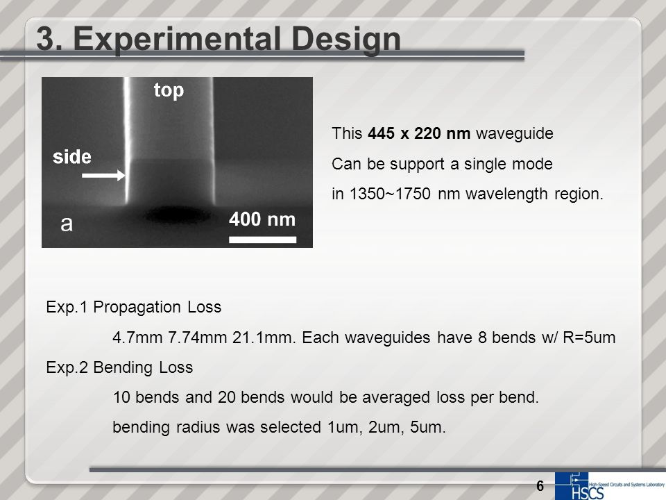 6 3. Experimental Design This 445 x 220 nm waveguide Can be support a single mode in 1350~1750 nm wavelength region. Exp.1 Propagation Loss 4.7mm 7.74