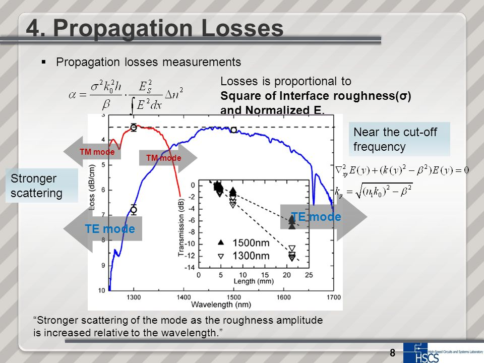 8 4. Propagation Losses Losses is proportional to Square of Interface roughness(σ) and Normalized E. TE mode Near the cut-off frequency Stronger scatt