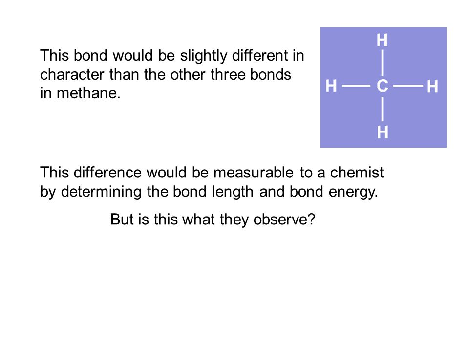 The fourth bond is between a 2s electron from the carbon and the lone 1s hydrogen electron. less Such a bond would have slightly less energy than the