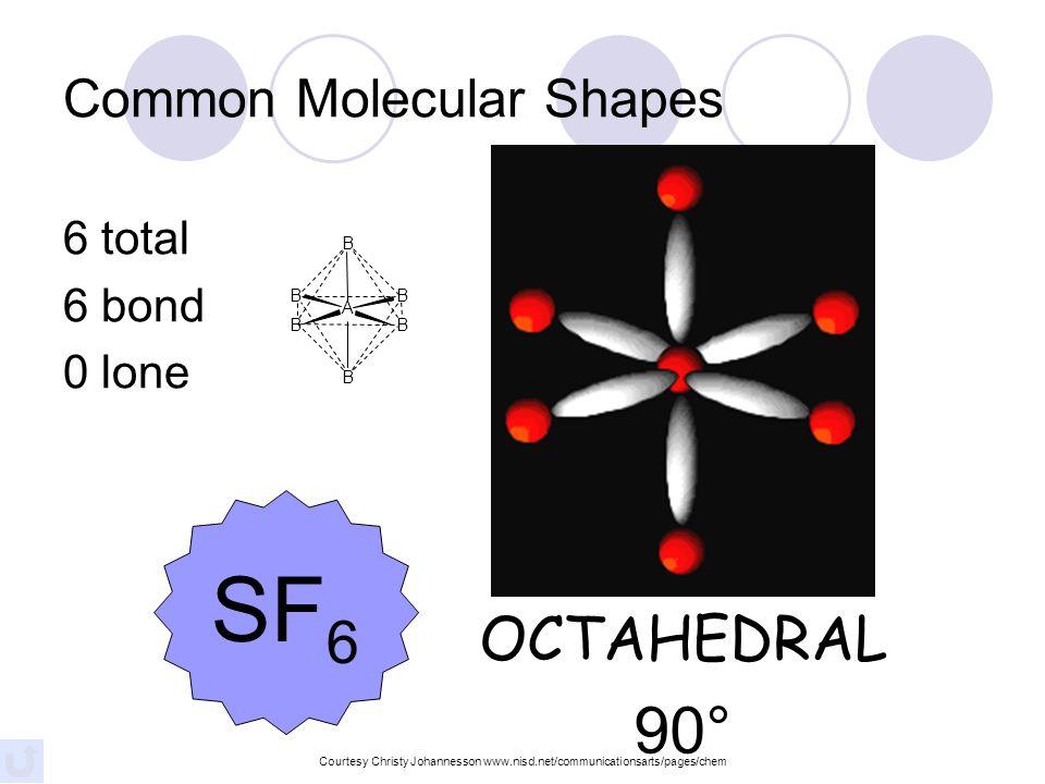 5 total 5 bond 0 lone TRIGONAL BIPYRAMIDAL 120°/90° PCl 5 Common Molecular Shapes Courtesy Christy Johannesson www.nisd.net/communicationsarts/pages/c