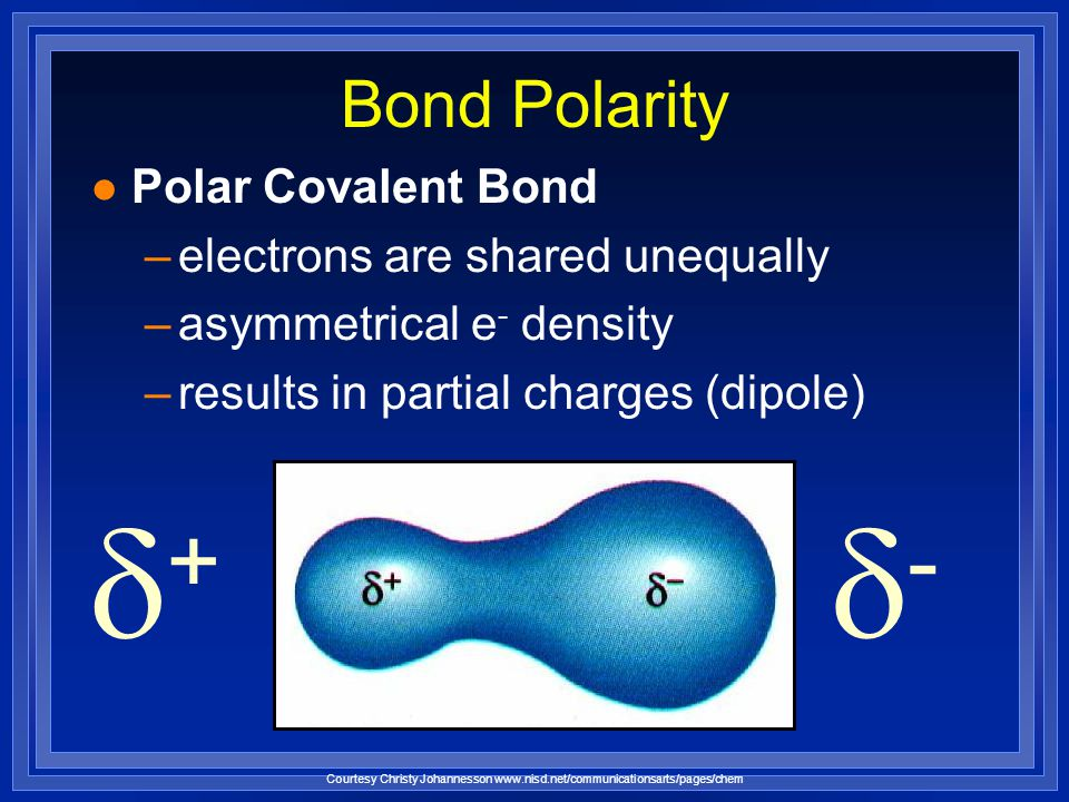 l Nonpolar Covalent Bond –electrons are shared equally –symmetrical electron density –usually identical atoms Bond Polarity