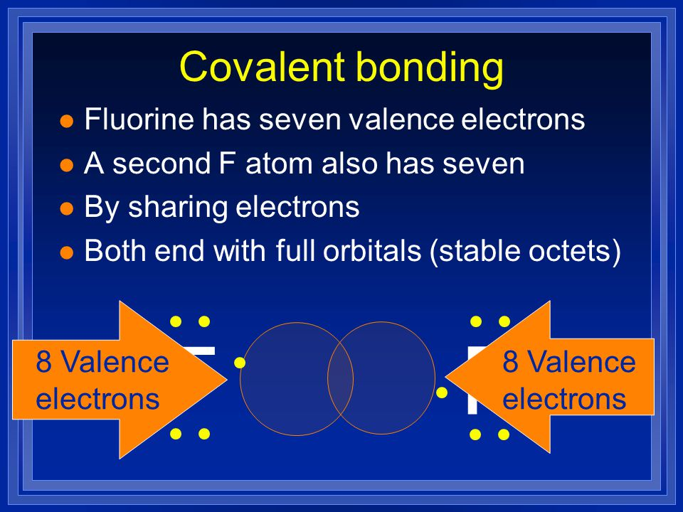 Covalent bonds l Nonmetals hold onto their valence electrons. l They can't give away electrons to bond. l Still want noble gas configuration. l Get it