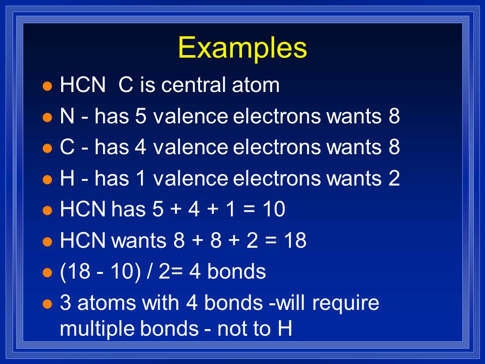 NHH H Examples l Draw in the bonds l All 8 electrons are accounted for l Everything is full