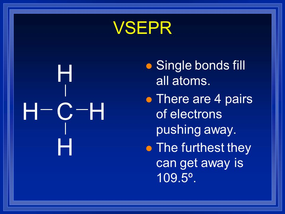 VSEPR l Based on the number of pairs of valence electrons both bonded and unbonded. l Unbonded pair are called lone pair. l CH 4 - draw the structural