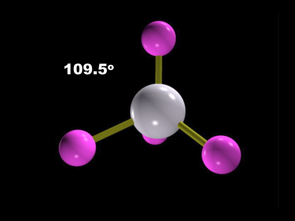 Electron-Domain Geometries Number of Electron Domains Arrangement of Electron Domains Electron-Domain Geometry Predicted Bond Angles 2345623456 Linear Trigonal planar Tetrahedral Trigonal- bipyramidal Octahedral 180 o 120 o 109.5 o 120 o 90 o A BeBe BeBe BeBe BaBa BaBa B B B B B B A B B A B B A B B B BBA