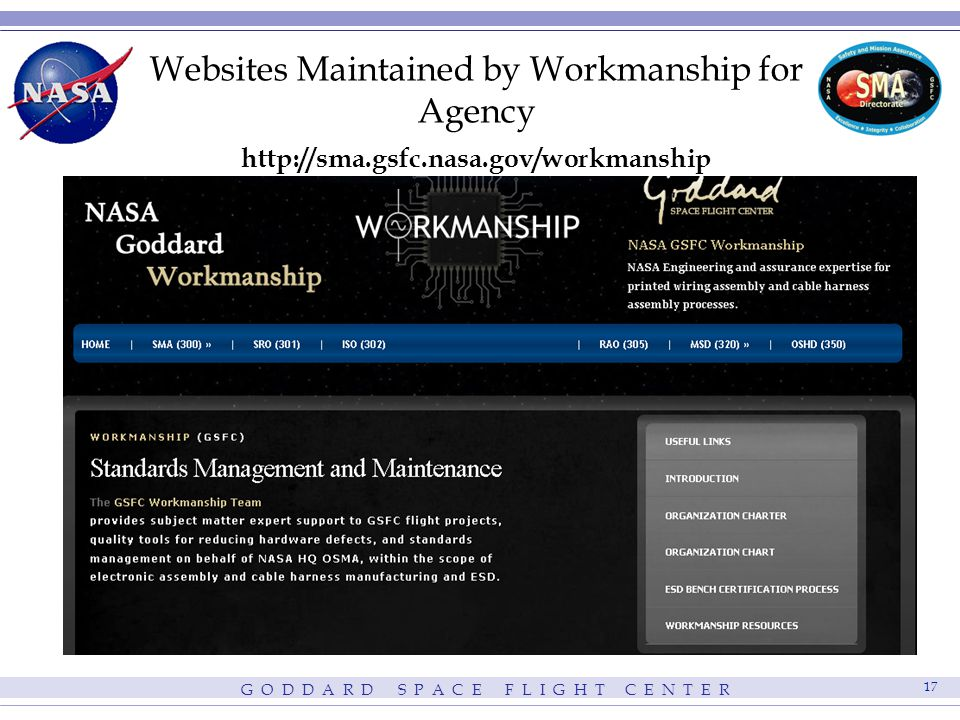 G O D D A R D S P A C E F L I G H T C E N T E R 17 Websites Maintained by Workmanship for Agency http://sma.gsfc.nasa.gov/workmanship