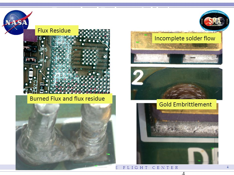 G O D D A R D S P A C E F L I G H T C E N T E R 4 4 Burned Flux and flux residue Incomplete solder flow Gold Embrittlement Example of Defects - Solder