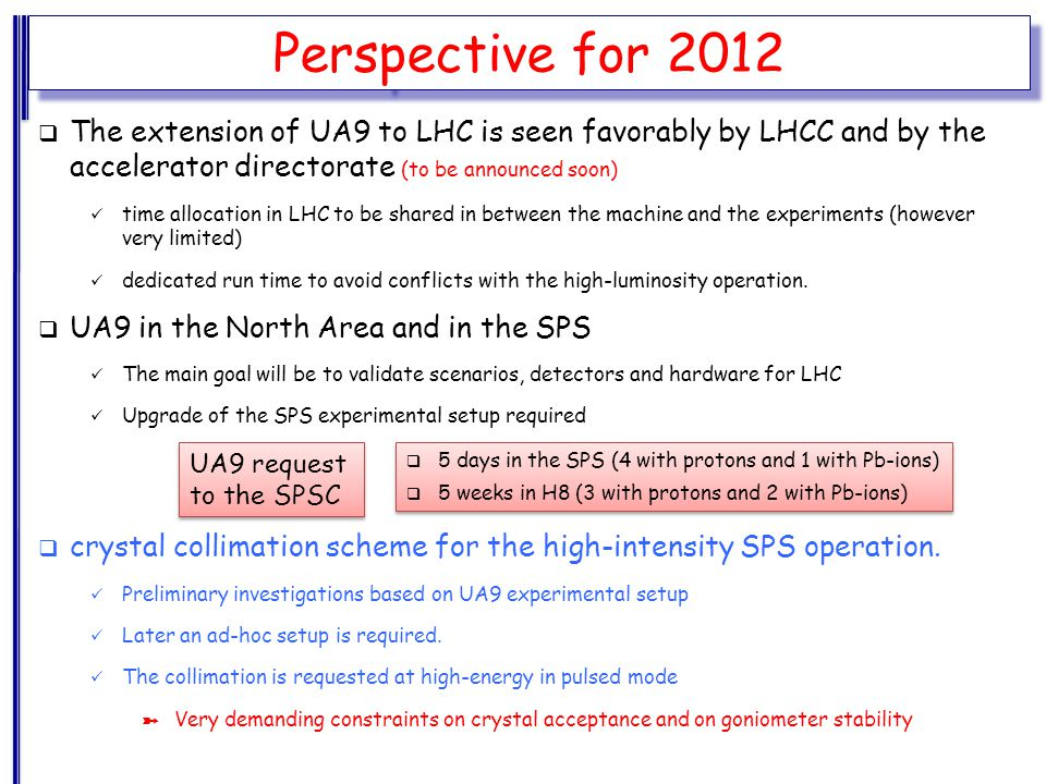 Perspective for 2012  The extension of UA9 to LHC is seen favorably by LHCC and by the accelerator directorate (to be announced soon) time allocation in LHC to be shared in between the machine and the experiments (however very limited) dedicated run time to avoid conflicts with the high-luminosity operation.