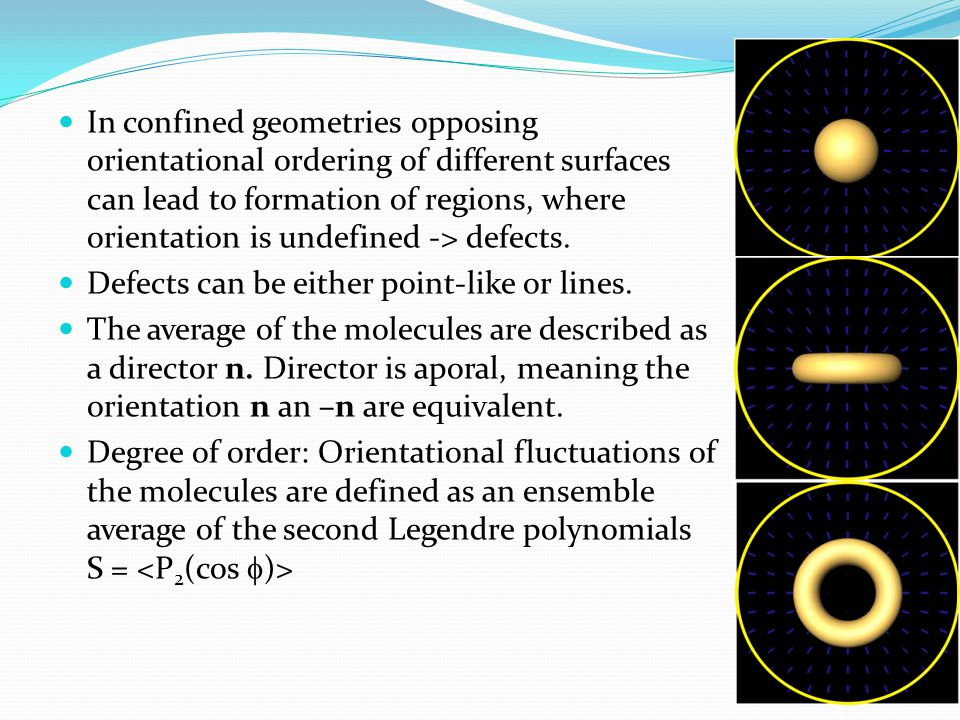In confined geometries opposing orientational ordering of different surfaces can lead to formation of regions, where orientation is undefined -> defects.