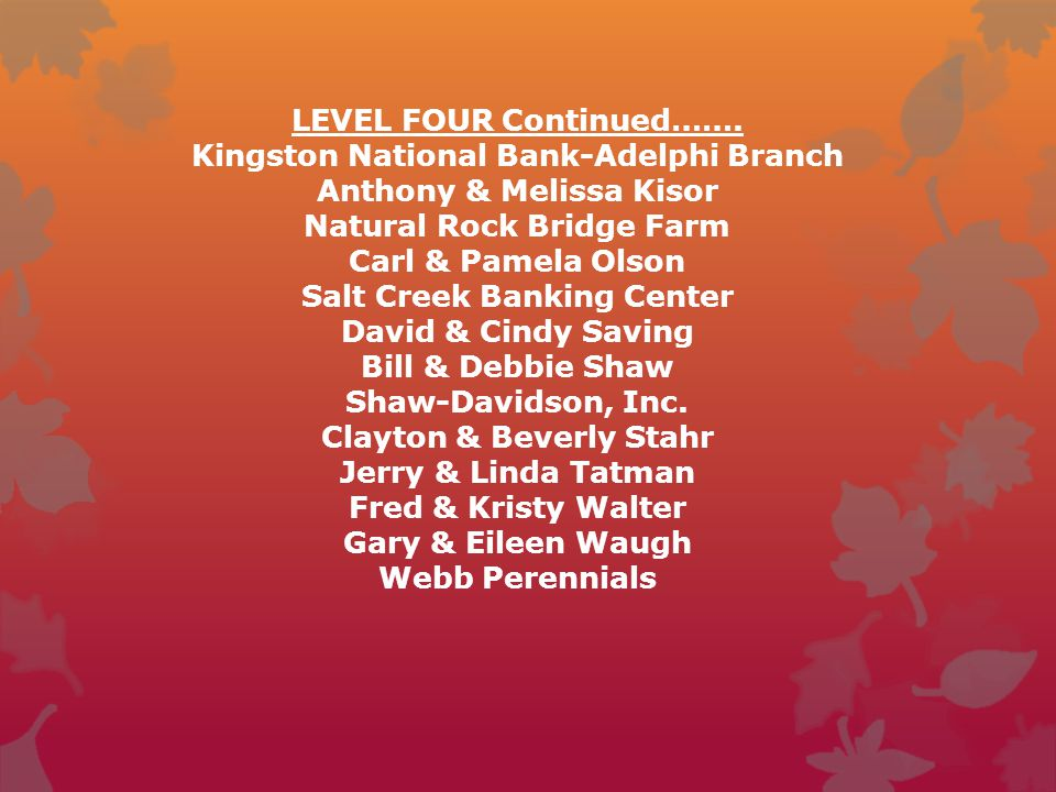 LEVEL FOUR Continued……. Kingston National Bank-Adelphi Branch Anthony & Melissa Kisor Natural Rock Bridge Farm Carl & Pamela Olson Salt Creek Banking