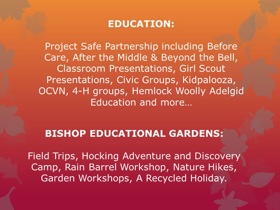 EDUCATION: Project Safe Partnership including Before Care, After the Middle & Beyond the Bell, Classroom Presentations, Girl Scout Presentations, Civi