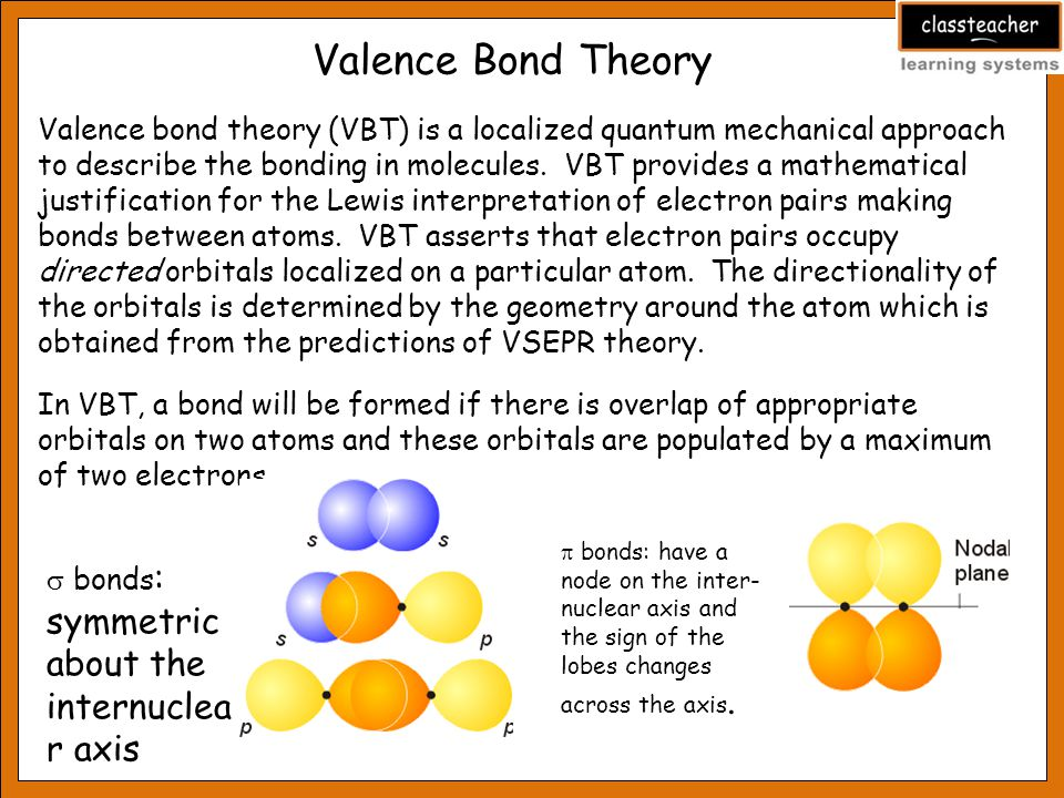 Valence Bond Theory Valence bond theory (VBT) is a localized quantum mechanical approach to describe the bonding in molecules.