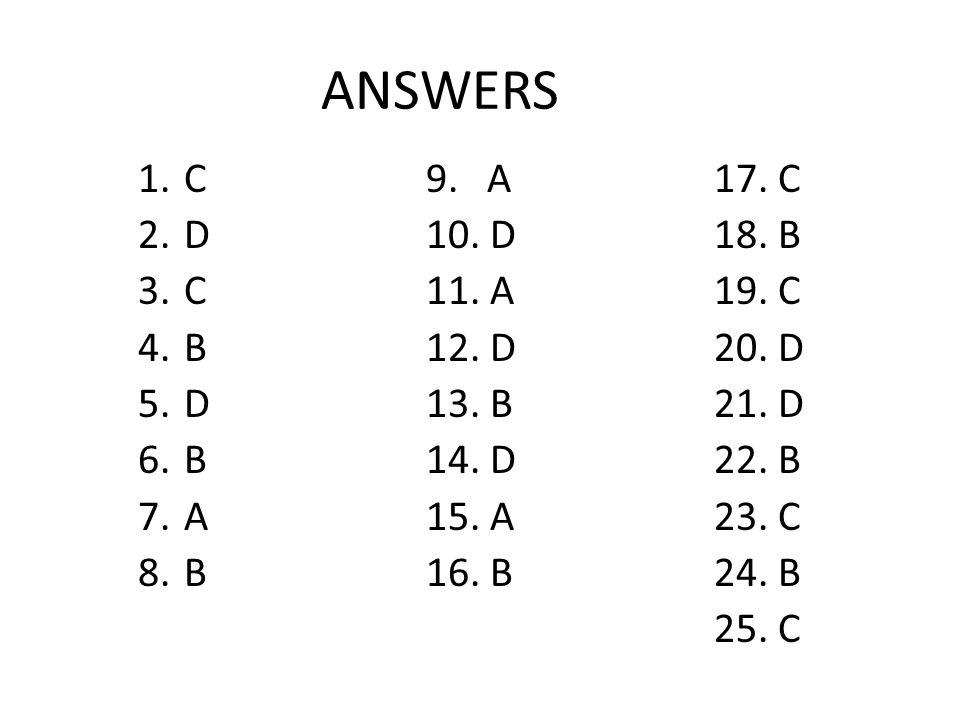 ANSWERS 1. C9. A17. C 2. D10. D18. B 3. C11. A19. C 4. B12. D20. D 5. D13. B21. D 6. B14. D22. B 7. A15. A23. C 8. B16. B24. B 25. C
