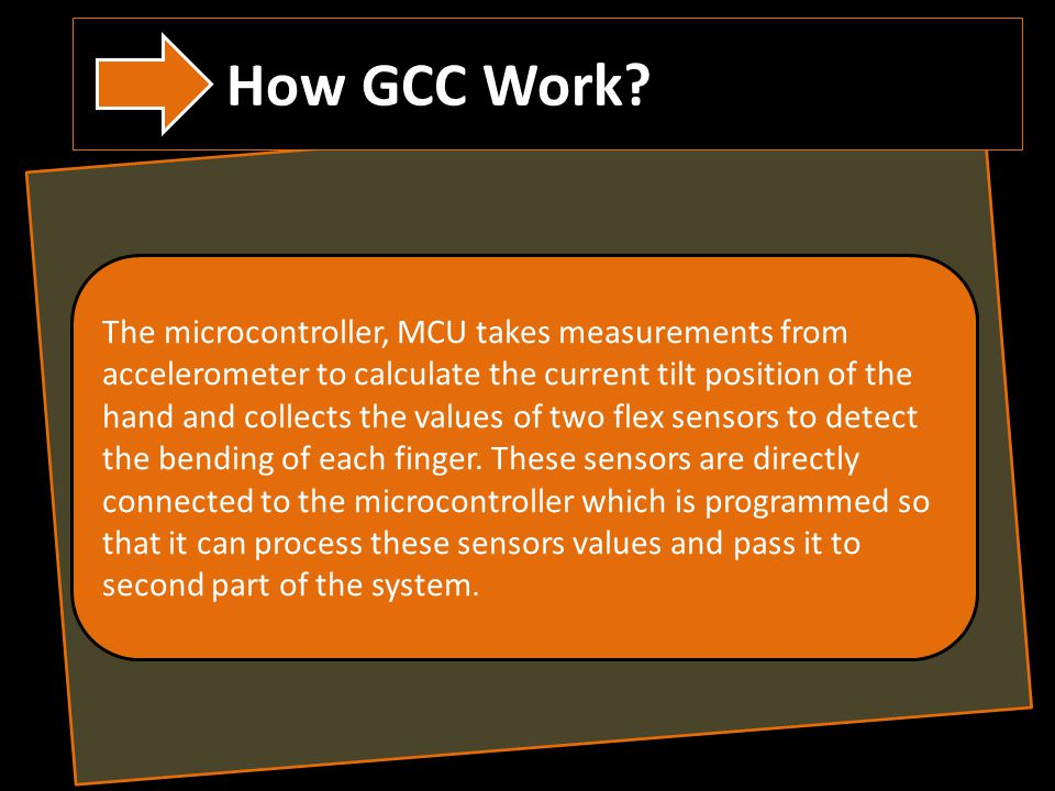 The microcontroller, MCU takes measurements from accelerometer to calculate the current tilt position of the hand and collects the values of two flex