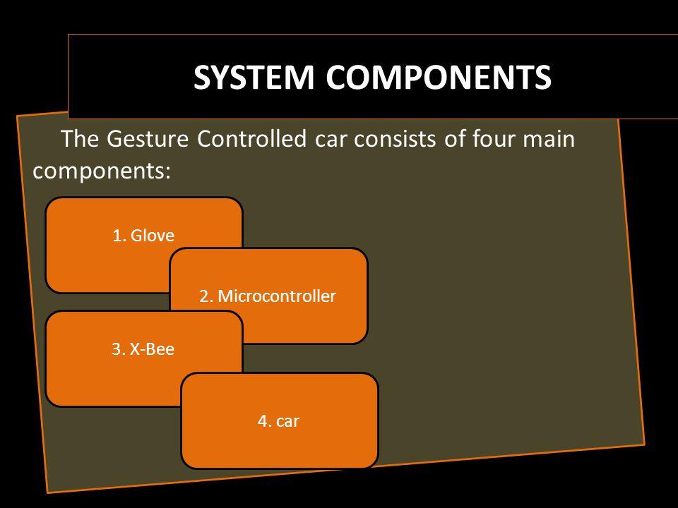 1- Microcontroller 3- Flex sensor 4- Accelerometer 5- voltage regulator 2- X-Bee Glove component