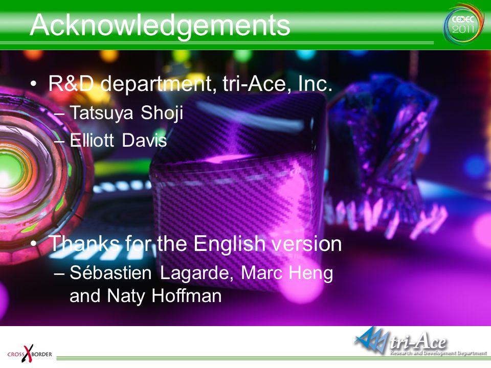 Acknowledgements R&D department, tri-Ace, Inc. –Tatsuya Shoji –Elliott Davis Thanks for the English version –Sébastien Lagarde, Marc Heng and Naty Hof