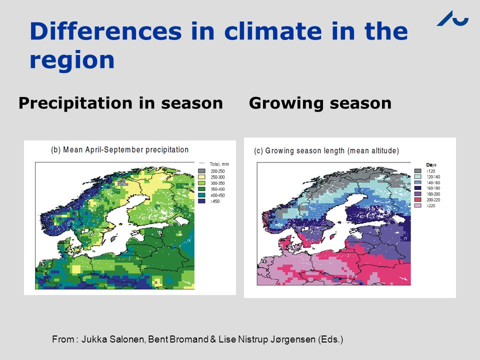 Differences in climate in the region Precipitation in seasonGrowing season From : Jukka Salonen, Bent Bromand & Lise Nistrup Jørgensen (Eds.)