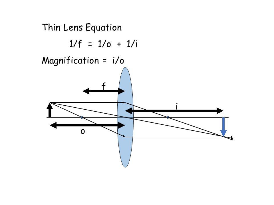 f o i Thin Lens Equation 1/f = 1/o + 1/i Magnification = i/o