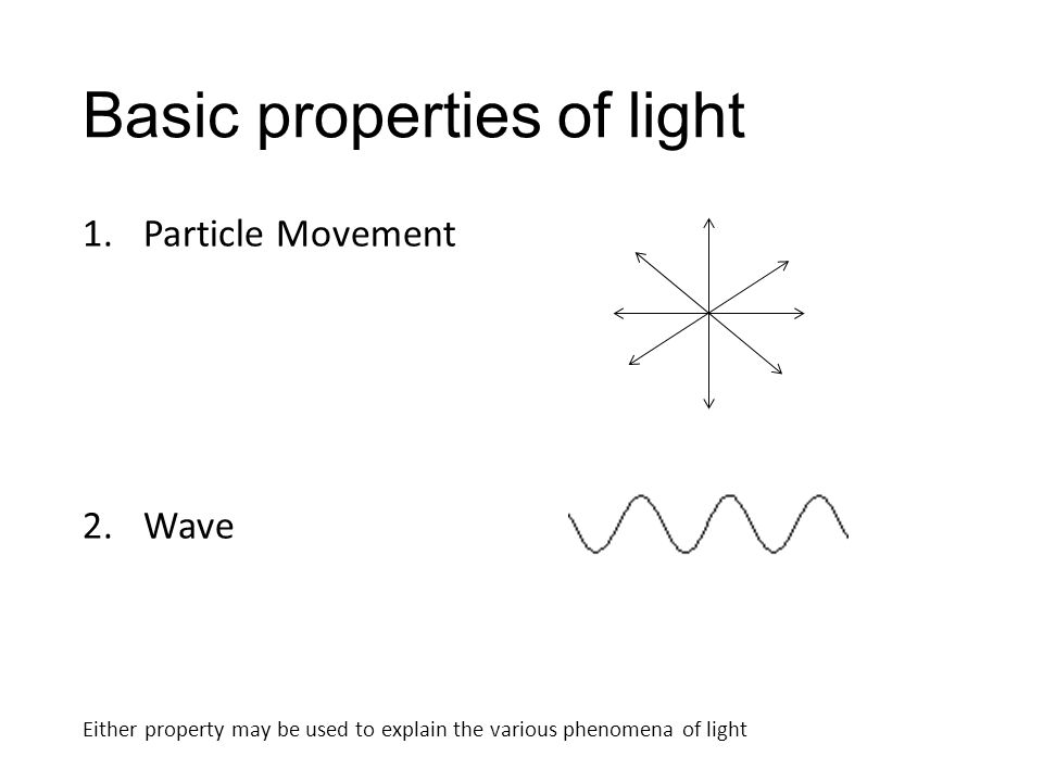 Basic properties of light 1.Particle Movement 2.Wave Either property may be used to explain the various phenomena of light
