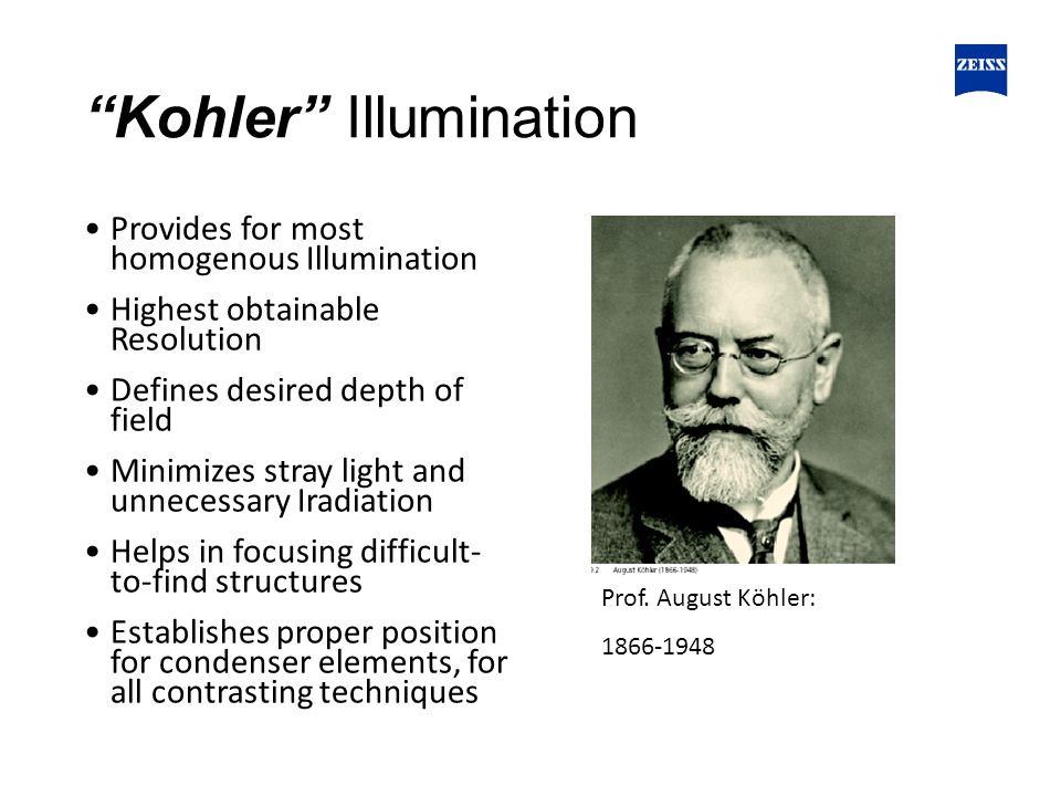 Kohler Illumination Provides for most homogenous Illumination Highest obtainable Resolution Defines desired depth of field Minimizes stray light and unnecessary Iradiation Helps in focusing difficult- to-find structures Establishes proper position for condenser elements, for all contrasting techniques Prof.