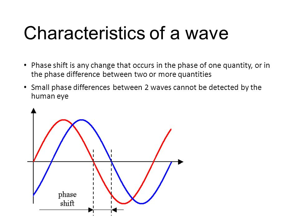 Characteristics of a wave Phase shift is any change that occurs in the phase of one quantity, or in the phase difference between two or more quantities Small phase differences between 2 waves cannot be detected by the human eye