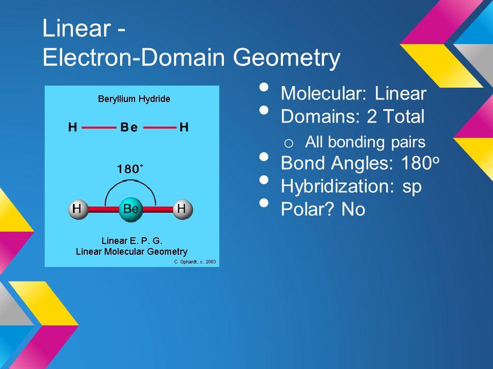Linear - Electron-Domain Geometry Molecular: Linear Domains: 2 Total o All bonding pairs Bond Angles: 180 o Hybridization: sp Polar? No