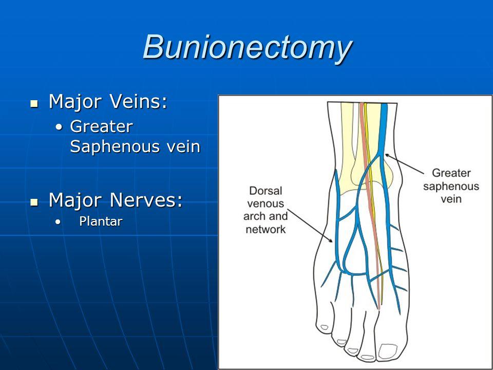 Bunionectomy Major Veins: Major Veins: Greater Saphenous veinGreater Saphenous vein Major Nerves: Major Nerves: PlantarPlantar