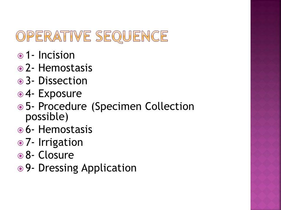  1- Incision  2- Hemostasis  3- Dissection  4- Exposure  5- Procedure (Specimen Collection possible)  6- Hemostasis  7- Irrigation  8- Closure