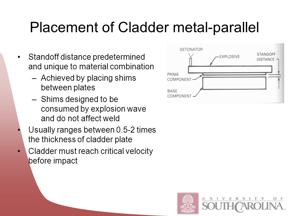 Placement of Cladder metal-parallel Standoff distance predetermined and unique to material combination –Achieved by placing shims between plates –Shims designed to be consumed by explosion wave and do not affect weld Usually ranges between 0.5-2 times the thickness of cladder plate Cladder must reach critical velocity before impact